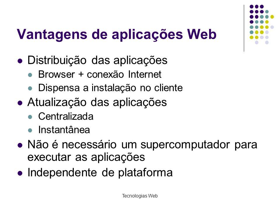 Tecnologias Web Vantagens de aplicações Web Distribuição das aplicações Browser + conexão Internet Dispensa a instalação no cliente Atualização das ap