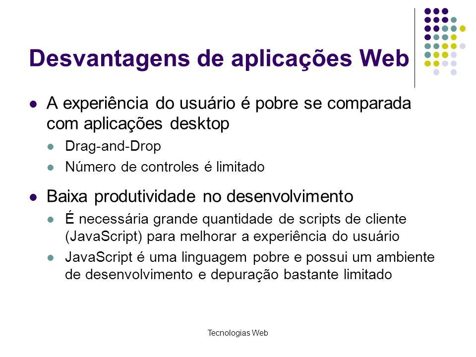 Tecnologias Web Desvantagens de aplicações Web A experiência do usuário é pobre se comparada com aplicações desktop Drag-and-Drop Número de controles
