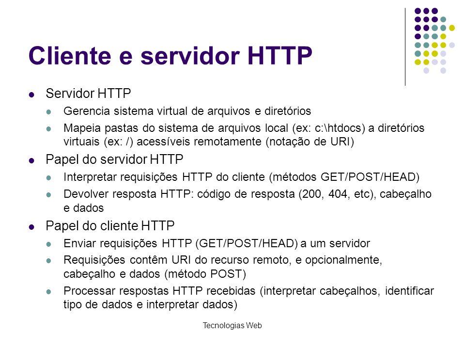 Tecnologias Web Cliente e servidor HTTP Servidor HTTP Gerencia sistema virtual de arquivos e diretórios Mapeia pastas do sistema de arquivos local (ex
