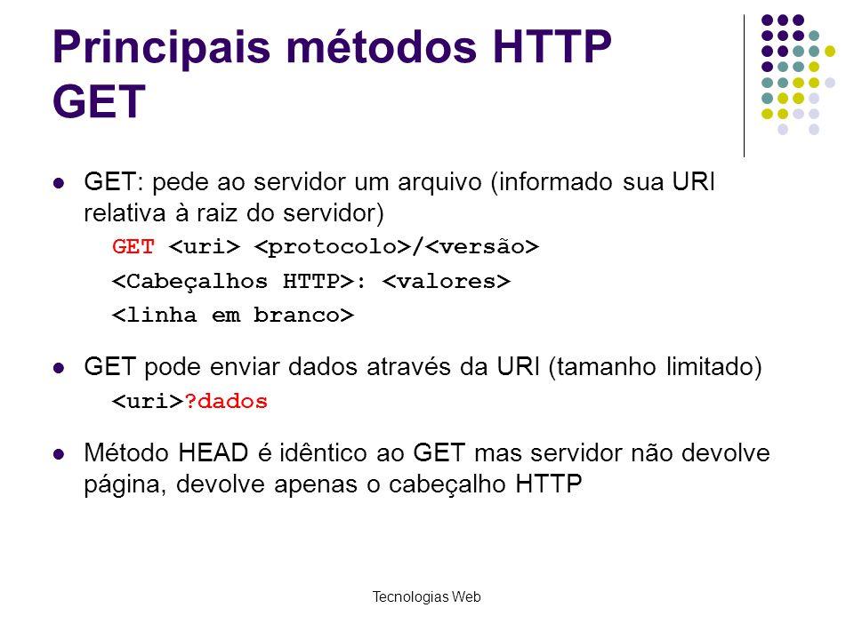 Tecnologias Web Principais métodos HTTP GET GET: pede ao servidor um arquivo (informado sua URI relativa à raiz do servidor) GET / : GET pode enviar d
