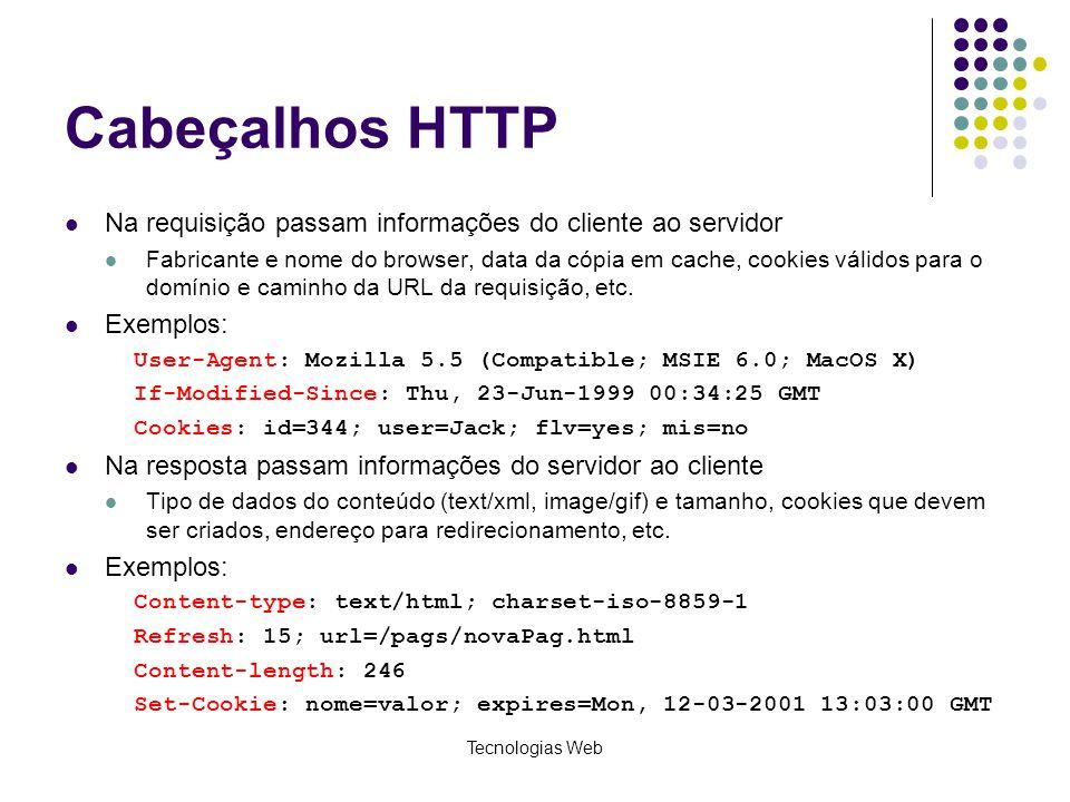 Tecnologias Web Cabeçalhos HTTP Na requisição passam informações do cliente ao servidor Fabricante e nome do browser, data da cópia em cache, cookies
