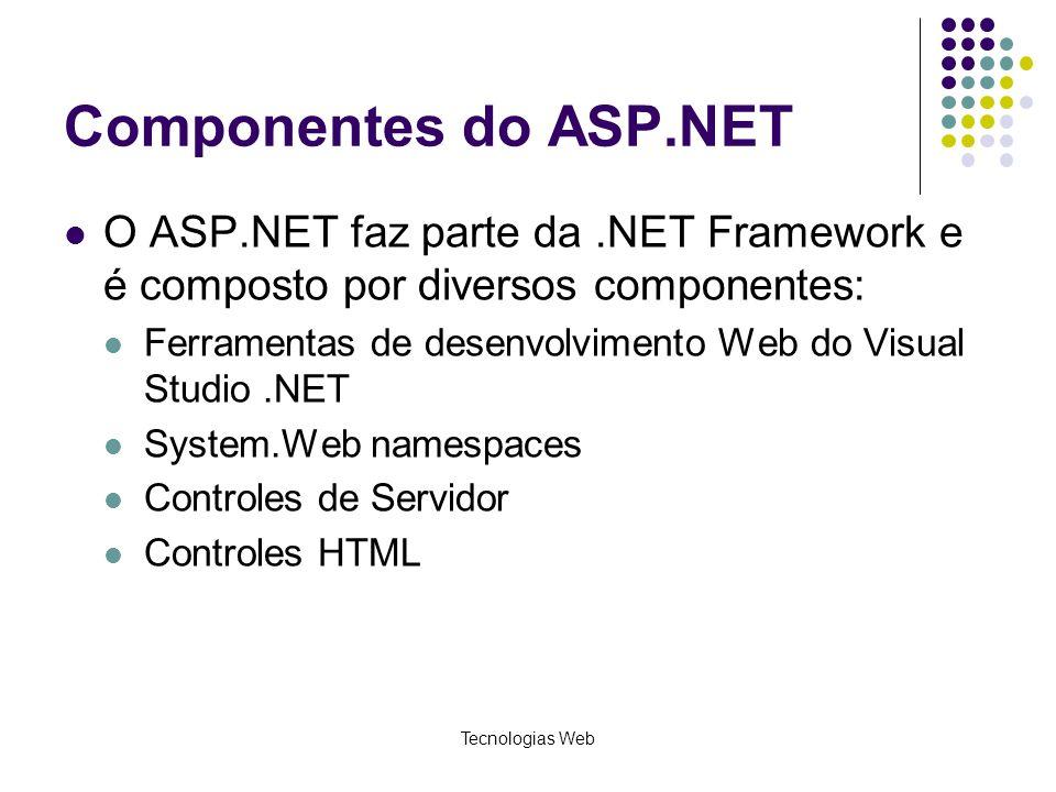 Tecnologias Web Componentes do ASP.NET O ASP.NET faz parte da.NET Framework e é composto por diversos componentes: Ferramentas de desenvolvimento Web