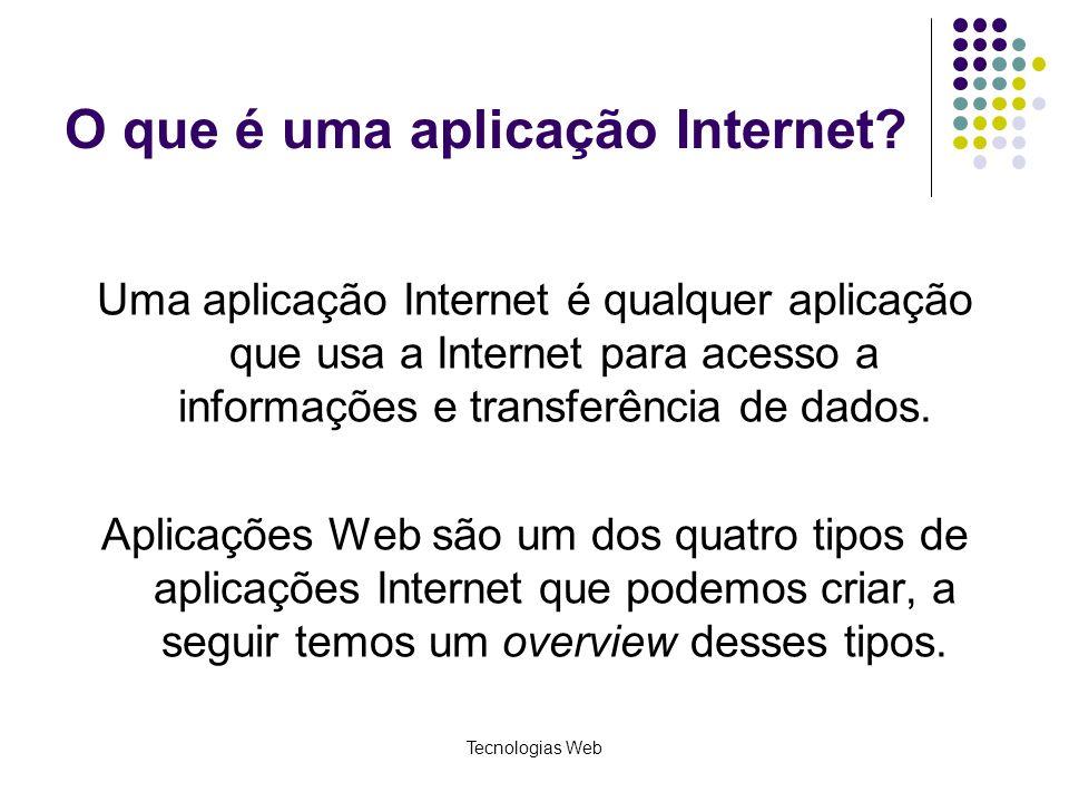 Tecnologias Web O que é uma aplicação Internet? Uma aplicação Internet é qualquer aplicação que usa a Internet para acesso a informações e transferênc