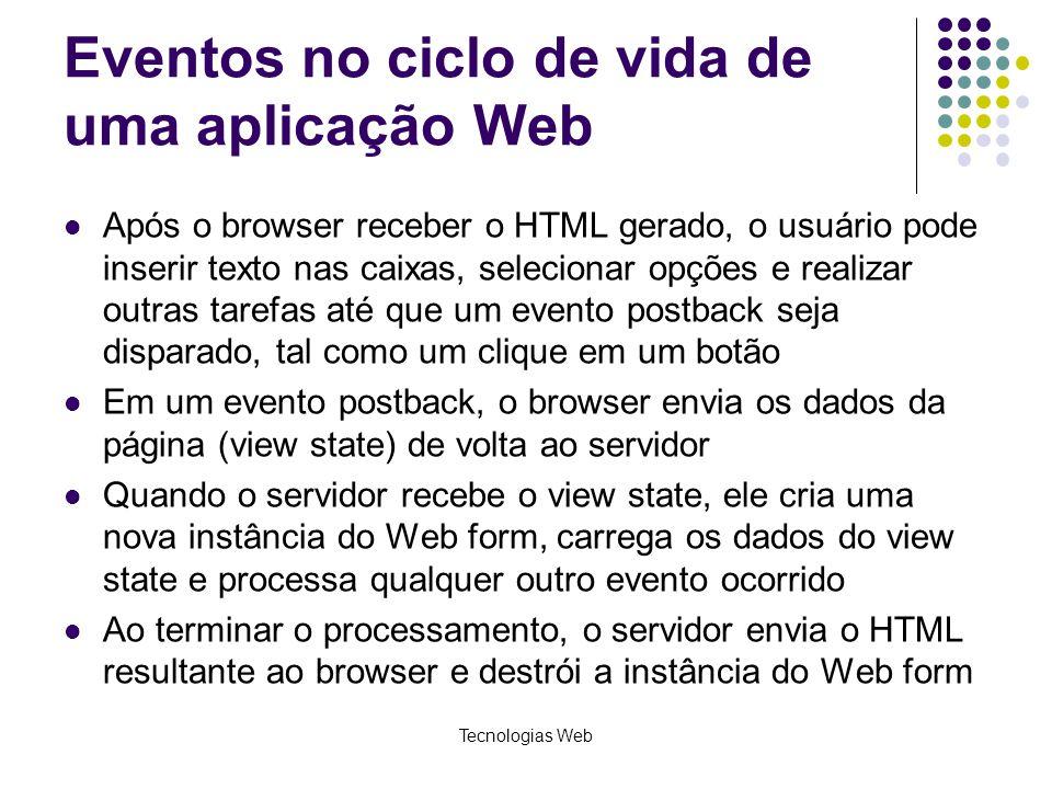 Tecnologias Web Eventos no ciclo de vida de uma aplicação Web Após o browser receber o HTML gerado, o usuário pode inserir texto nas caixas, seleciona
