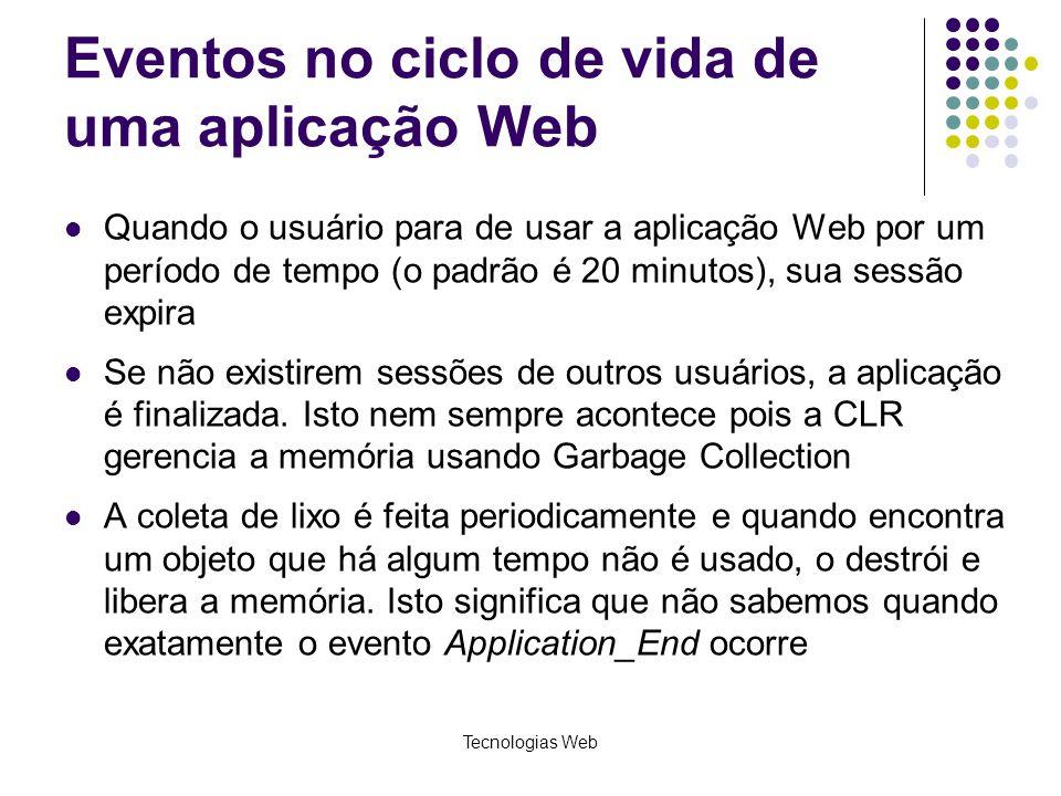 Tecnologias Web Eventos no ciclo de vida de uma aplicação Web Quando o usuário para de usar a aplicação Web por um período de tempo (o padrão é 20 min