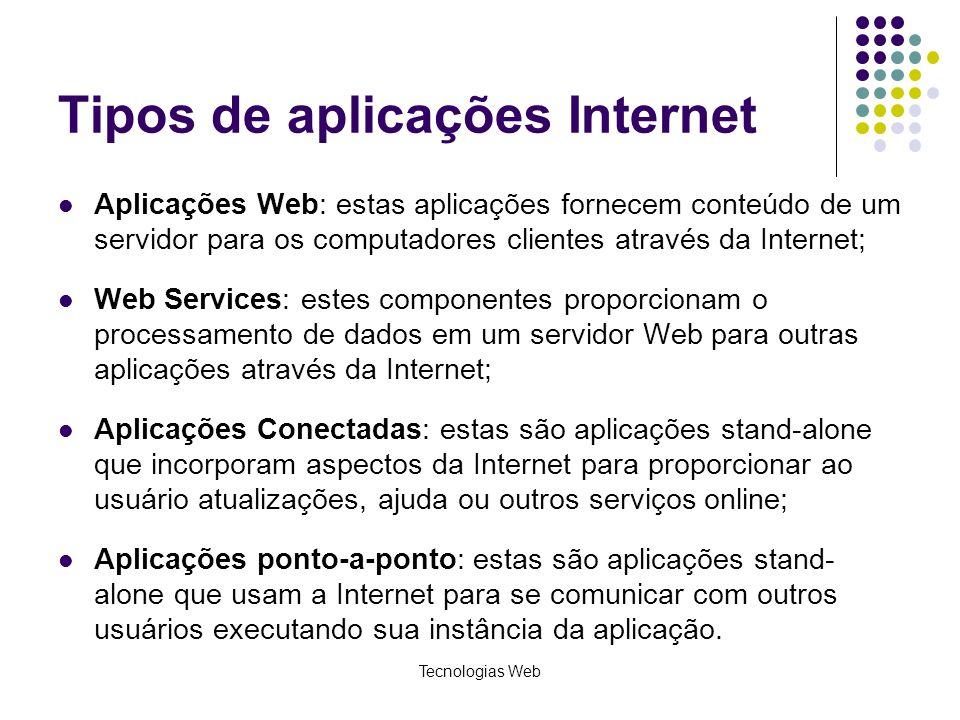 Tecnologias Web Tipos de aplicações Internet Aplicações Web: estas aplicações fornecem conteúdo de um servidor para os computadores clientes através d