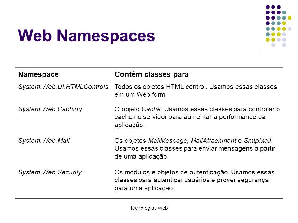 Tecnologias Web Web Namespaces NamespaceContém classes para System.Web.UI.HTMLControlsTodos os objetos HTML control. Usamos essas classes em um Web fo