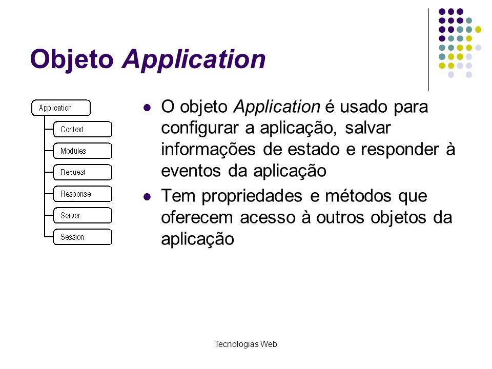 Tecnologias Web Objeto Application O objeto Application é usado para configurar a aplicação, salvar informações de estado e responder à eventos da apl