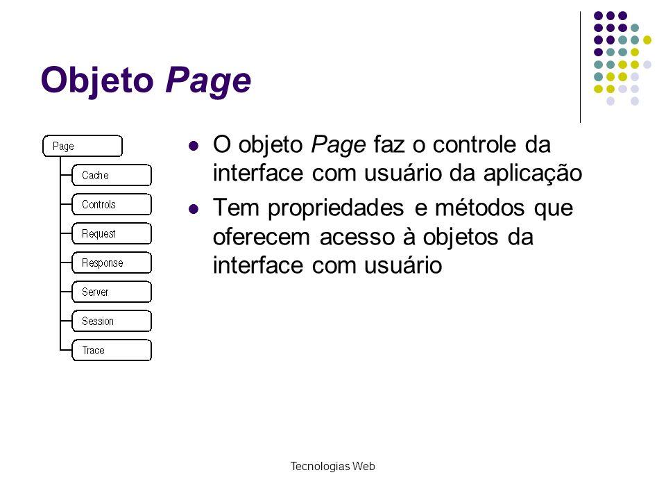 Tecnologias Web Objeto Page O objeto Page faz o controle da interface com usuário da aplicação Tem propriedades e métodos que oferecem acesso à objeto