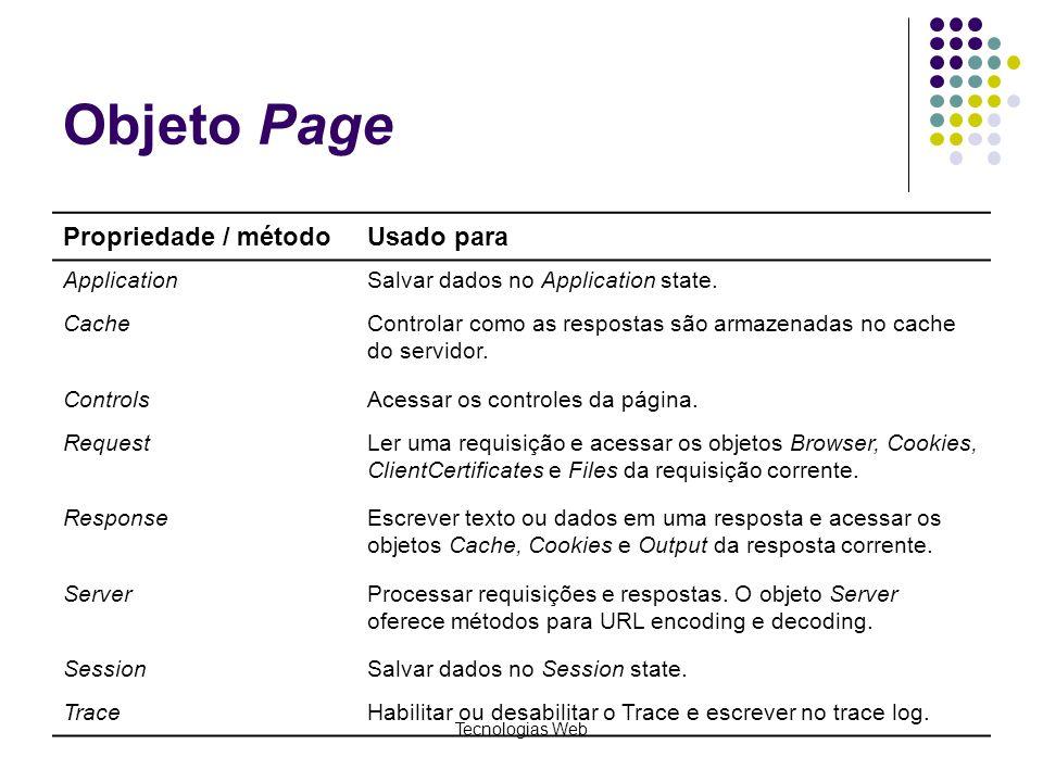 Tecnologias Web Objeto Page Propriedade / métodoUsado para ApplicationSalvar dados no Application state. CacheControlar como as respostas são armazena