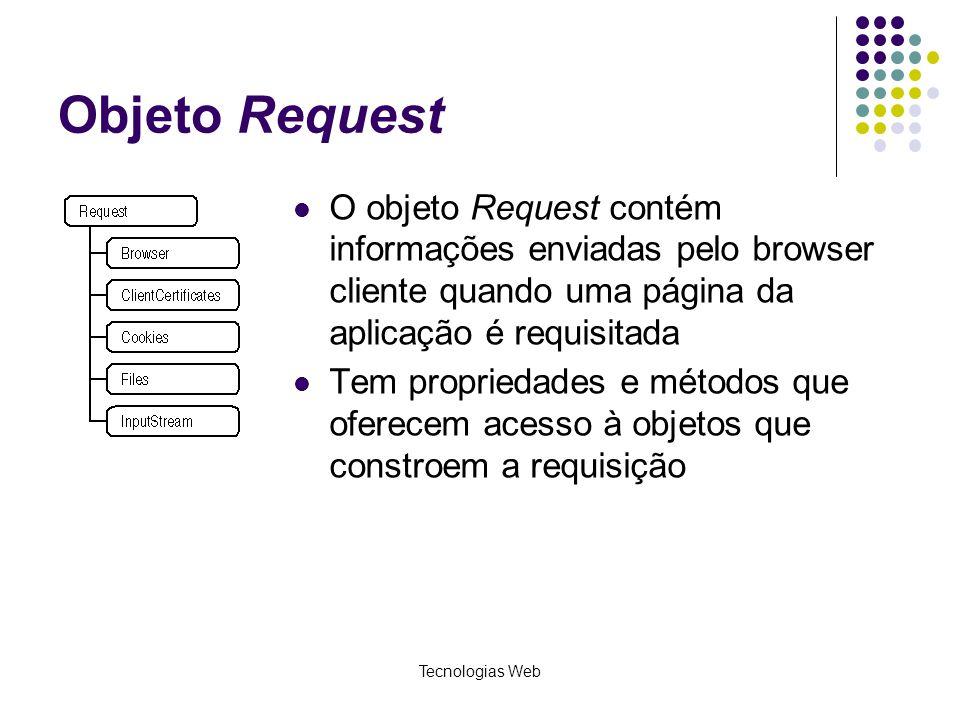 Tecnologias Web Objeto Request O objeto Request contém informações enviadas pelo browser cliente quando uma página da aplicação é requisitada Tem prop