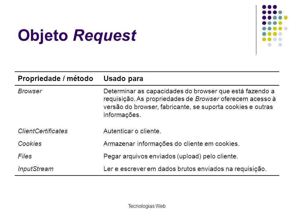 Tecnologias Web Objeto Request Propriedade / métodoUsado para BrowserDeterminar as capacidades do browser que está fazendo a requisição. As propriedad