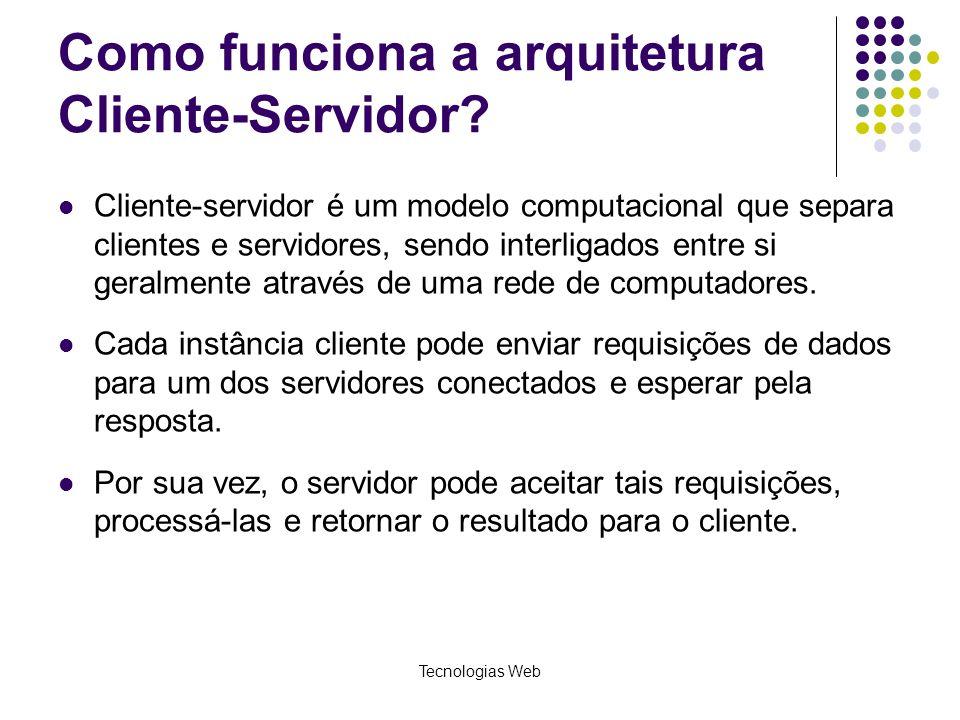Tecnologias Web Como funciona a arquitetura Cliente-Servidor? Cliente-servidor é um modelo computacional que separa clientes e servidores, sendo inter