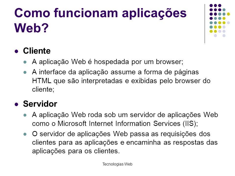 Tecnologias Web Como funcionam aplicações Web? Cliente A aplicação Web é hospedada por um browser; A interface da aplicação assume a forma de páginas