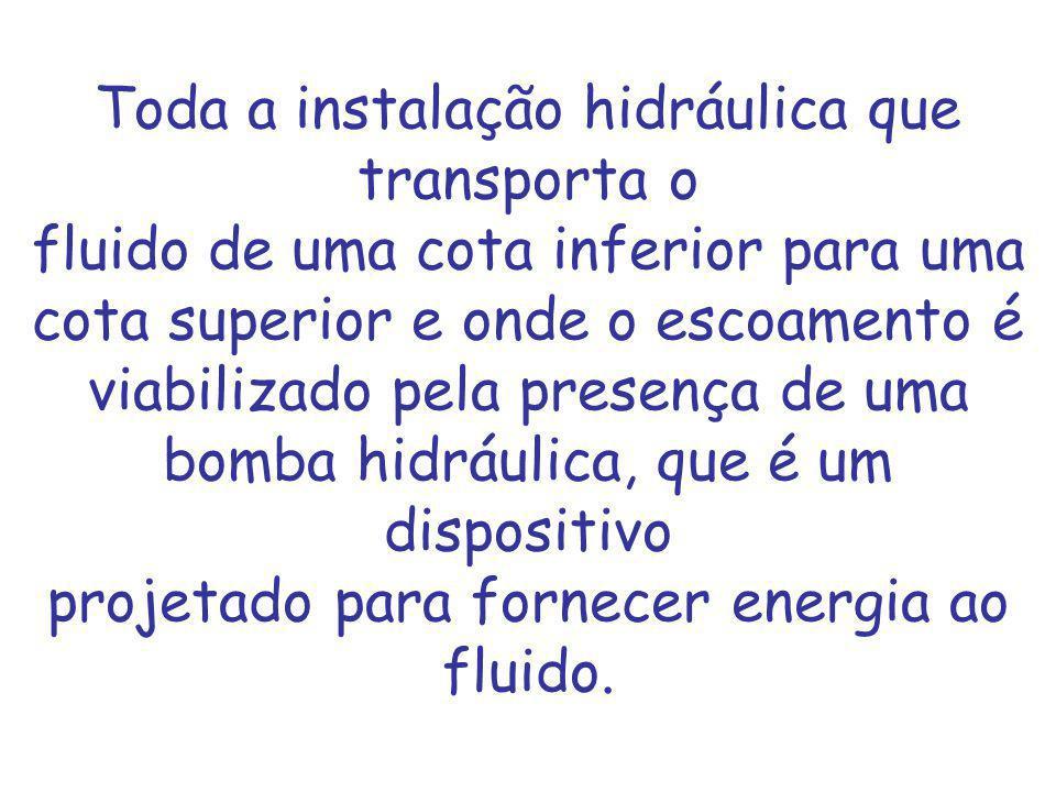 Toda a instalação hidráulica que transporta o fluido de uma cota inferior para uma cota superior e onde o escoamento é viabilizado pela presença de uma bomba hidráulica, que é um dispositivo projetado para fornecer energia ao fluido.