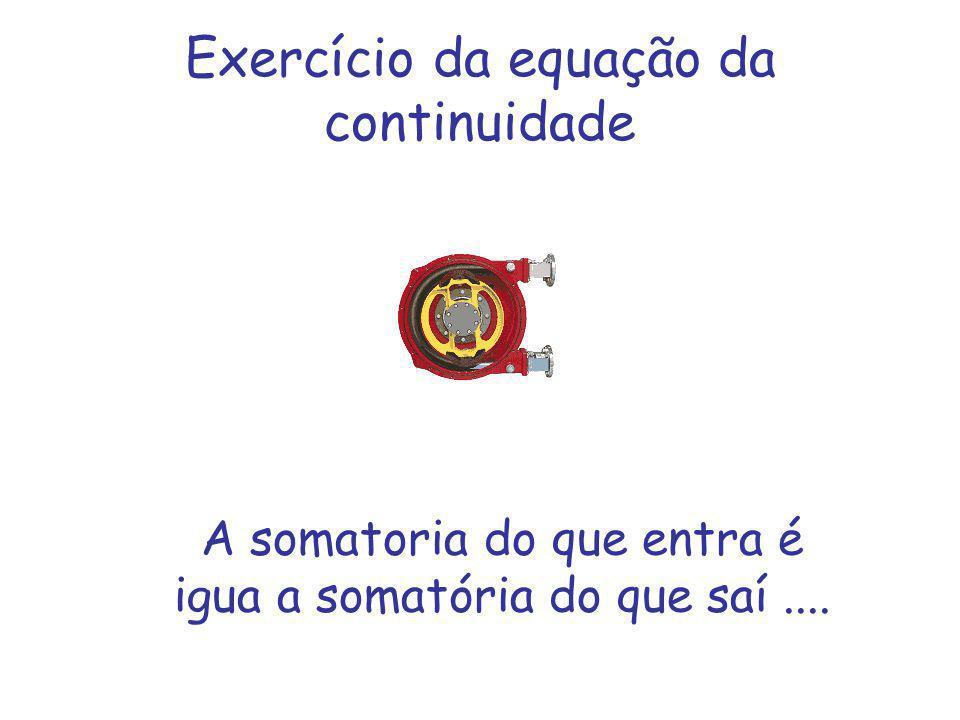 Exercício da equação da continuidade A somatoria do que entra é igua a somatória do que saí....