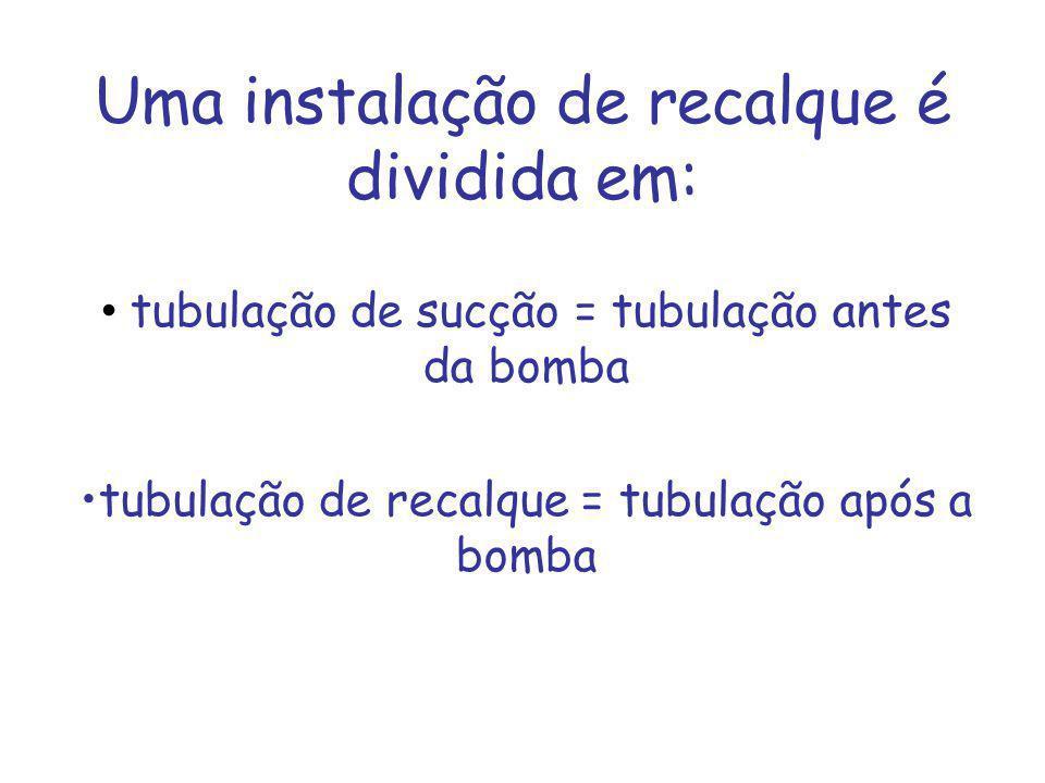 Uma instalação de recalque é dividida em: tubulação de sucção = tubulação antes da bomba tubulação de recalque = tubulação após a bomba