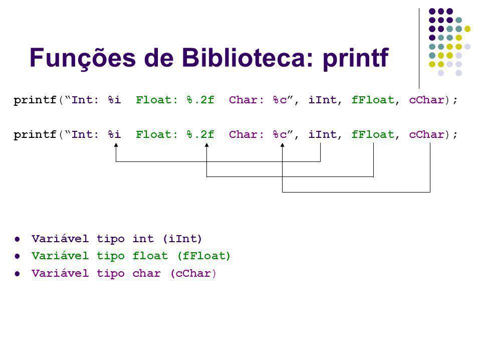 Funções de Biblioteca: printf printf(Int: %i Float: %.2f Char: %c, iInt, fFloat, cChar); Variável tipo int (iInt) Variável tipo float (fFloat) Variáve