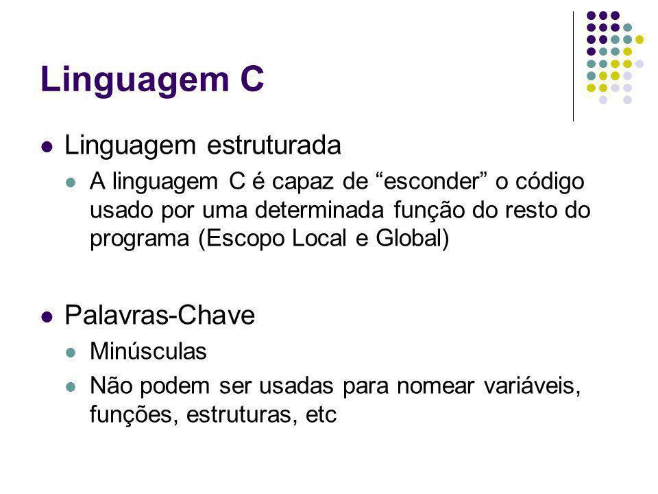 Linguagem C Linguagem estruturada A linguagem C é capaz de esconder o código usado por uma determinada função do resto do programa (Escopo Local e Glo