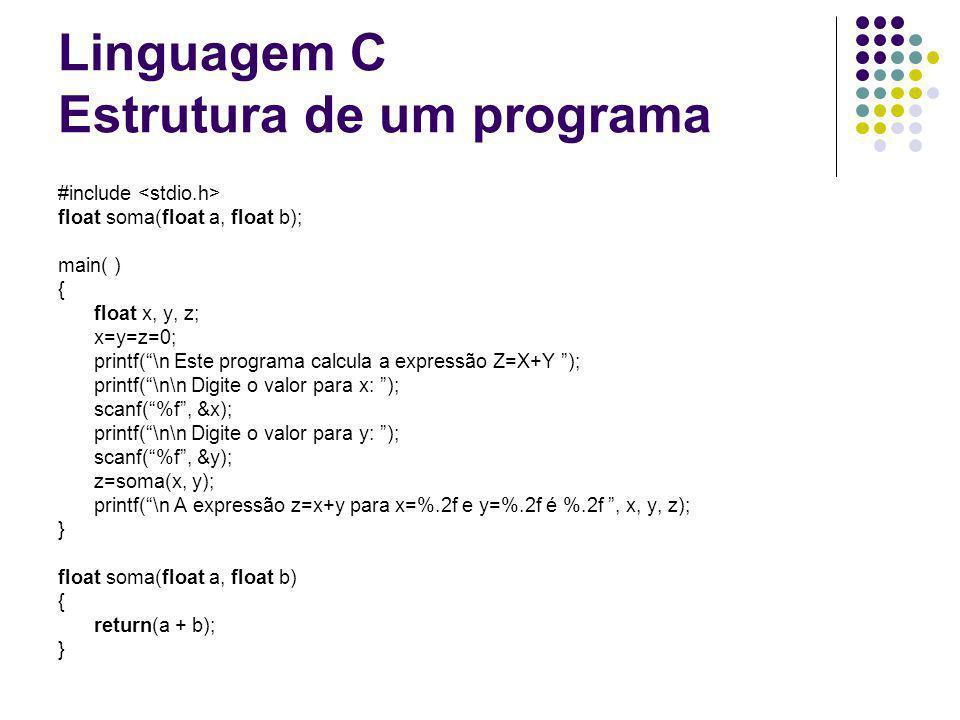 Linguagem C Estrutura de um programa #include float soma(float a, float b); main( ) { float x, y, z; x=y=z=0; printf(\n Este programa calcula a expres