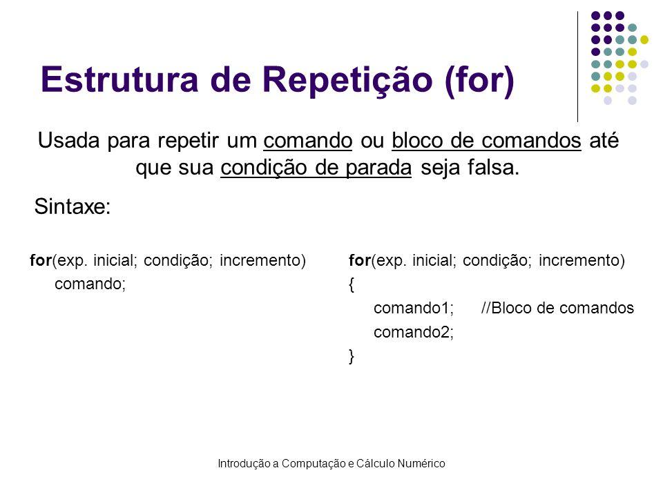 Introdução a Computação e Cálculo Numérico Estrutura de Repetição (for) for(exp.