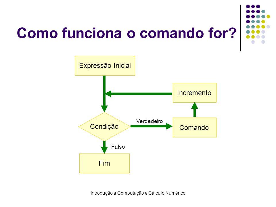 Introdução a Computação e Cálculo Numérico Como funciona o comando for.