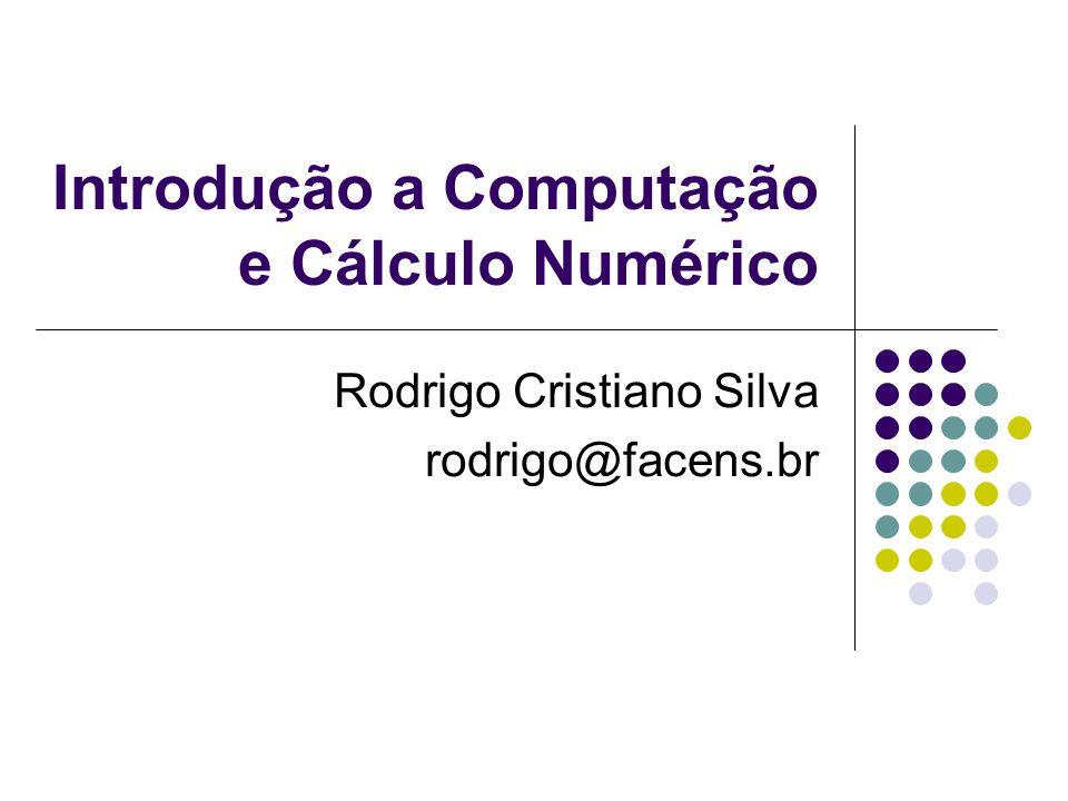 Introdução a Computação e Cálculo Numérico Isolamento das Raízes Análise Gráfica A análise gráfica da função f(x) é fundamental para se obter boas aproximações para a raiz, para tal, temos os seguintes processos: Esboçar o gráfico da função f(x) e localizar as abcissas dos pontos onde a curva intercepta o eixo x; A partir da equação f(x)=0, obter a equação equivalente g(x) = h(x), esboçar os gráficos das funções g(x) e h(x) e localizar os pontos x onde as duas curvas se interceptam; Usar programas que traçam gráficos de funções.