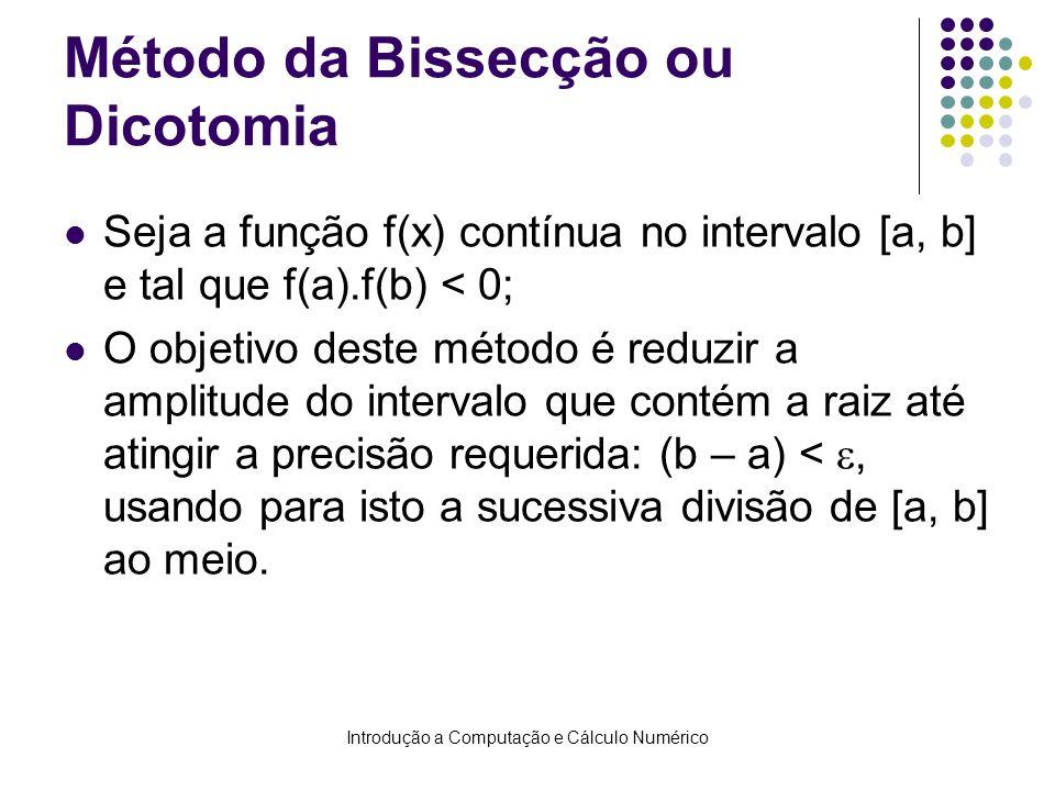 Introdução a Computação e Cálculo Numérico Método da Bissecção ou Dicotomia Seja a função f(x) contínua no intervalo [a, b] e tal que f(a).f(b) < 0; O objetivo deste método é reduzir a amplitude do intervalo que contém a raiz até atingir a precisão requerida: (b – a) <, usando para isto a sucessiva divisão de [a, b] ao meio.