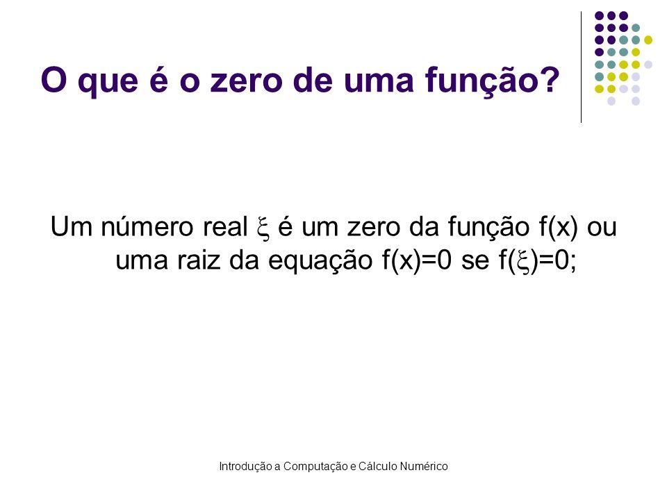 Introdução a Computação e Cálculo Numérico Zeros de Funções