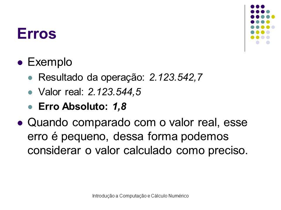 Introdução a Computação e Cálculo Numérico Erros Exemplo Resultado da operação: 2.123.542,7 Valor real: 2.123.544,5 Erro Absoluto: 1,8 Quando comparad
