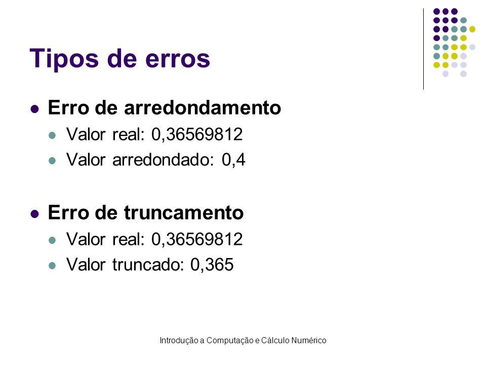 Introdução a Computação e Cálculo Numérico Tipos de erros Erro de arredondamento Valor real: 0,36569812 Valor arredondado: 0,4 Erro de truncamento Val