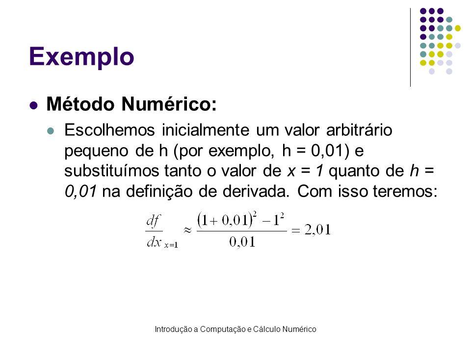 Introdução a Computação e Cálculo Numérico Exemplo Método Numérico: Escolhemos inicialmente um valor arbitrário pequeno de h (por exemplo, h = 0,01) e