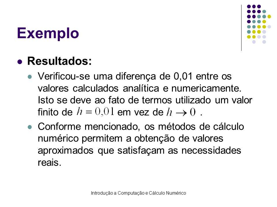 Introdução a Computação e Cálculo Numérico Exemplo Resultados: Verificou-se uma diferença de 0,01 entre os valores calculados analítica e numericament