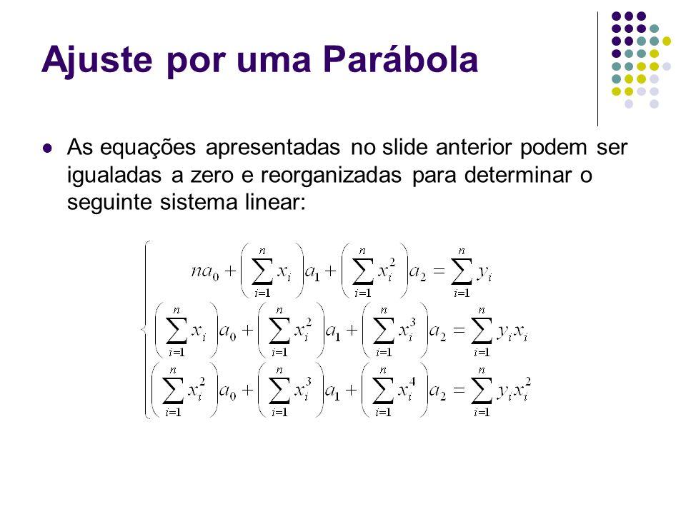 Ajuste por uma Parábola As equações apresentadas no slide anterior podem ser igualadas a zero e reorganizadas para determinar o seguinte sistema linear:
