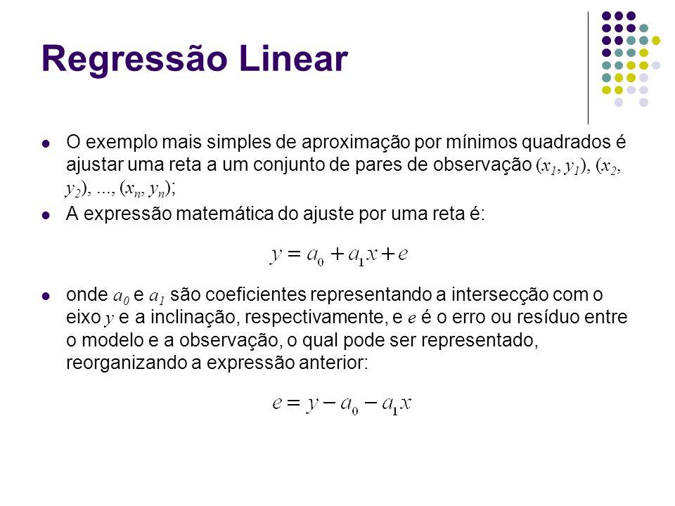 Regressão Linear O exemplo mais simples de aproximação por mínimos quadrados é ajustar uma reta a um conjunto de pares de observação (x 1, y 1 ), (x 2, y 2 ),..., (x n, y n ) ; A expressão matemática do ajuste por uma reta é: onde a 0 e a 1 são coeficientes representando a intersecção com o eixo y e a inclinação, respectivamente, e e é o erro ou resíduo entre o modelo e a observação, o qual pode ser representado, reorganizando a expressão anterior:
