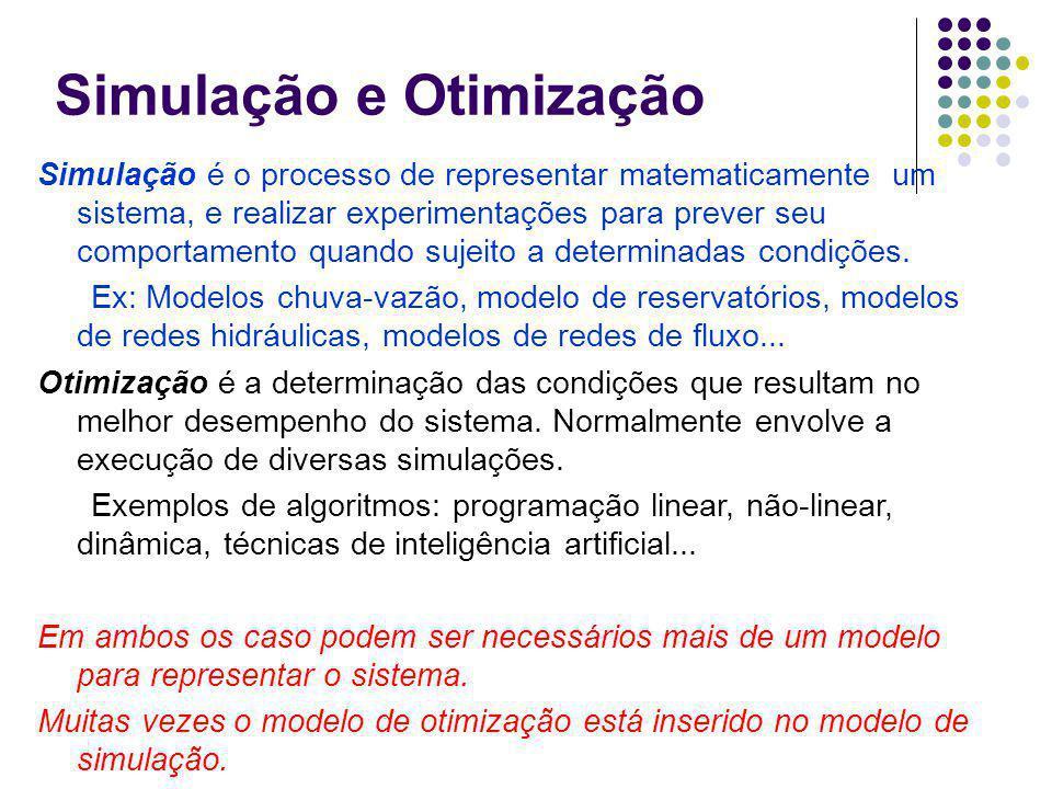 Simulação e Otimização Simulação é o processo de representar matematicamente um sistema, e realizar experimentações para prever seu comportamento quando sujeito a determinadas condições.