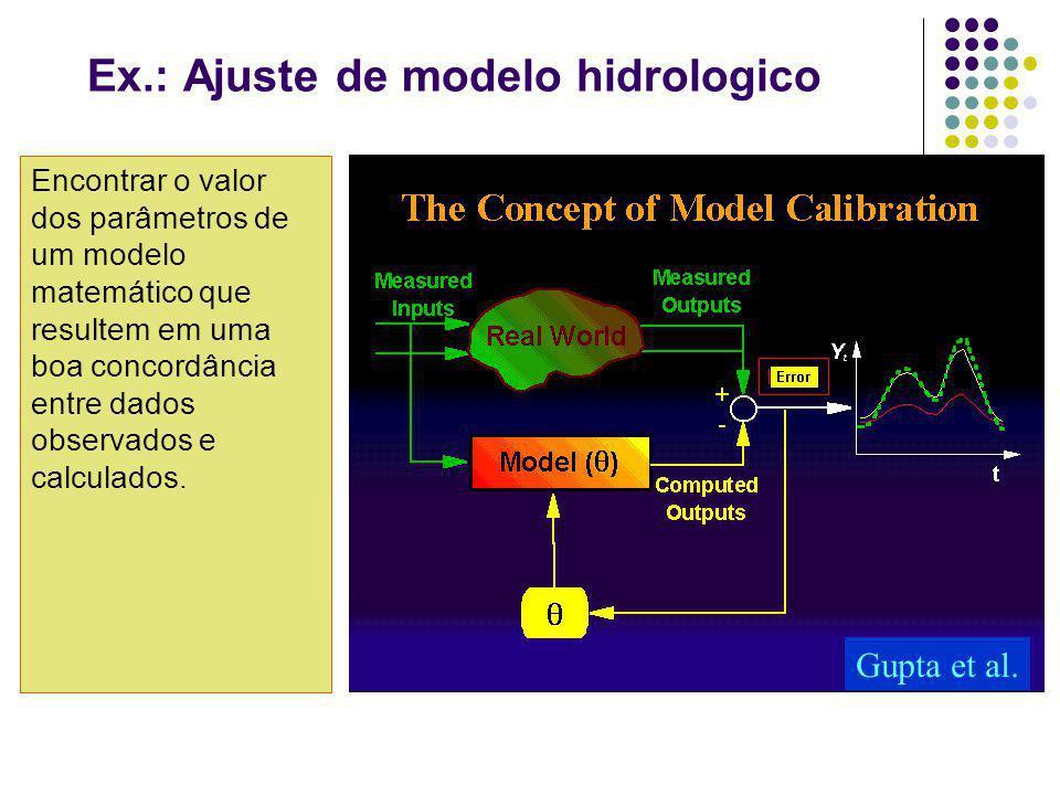 Ex.: Ajuste de modelo hidrologico Encontrar o valor dos parâmetros de um modelo matemático que resultem em uma boa concordância entre dados observados e calculados.