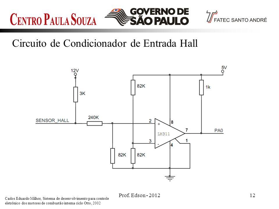 Prof. Edson - 201212 Circuito de Condicionador de Entrada Hall Carlos Eduardo Milhor, Sistema de desenvolvimento para controle eletrônico dos motores