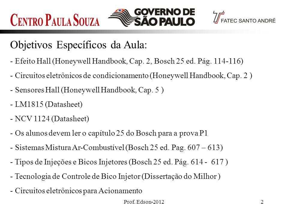 Prof. Edson-20122 Objetivos Específicos da Aula: - Efeito Hall (Honeywell Handbook, Cap. 2, Bosch 25 ed. Pág. 114-116) - Circuitos eletrônicos de cond
