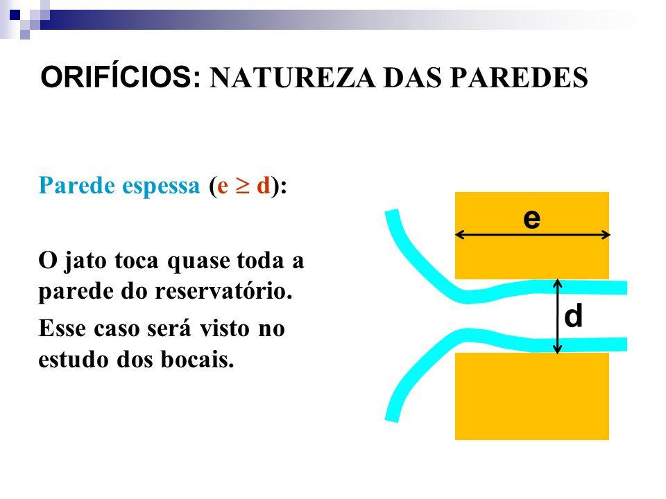 Parede espessa (e d): O jato toca quase toda a parede do reservatório. Esse caso será visto no estudo dos bocais. ORIFÍCIOS: NATUREZA DAS PAREDES e d