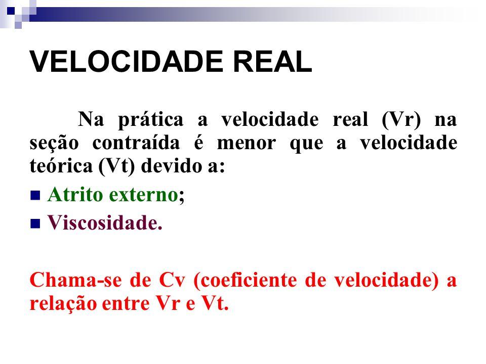 VELOCIDADE REAL Na prática a velocidade real (Vr) na seção contraída é menor que a velocidade teórica (Vt) devido a: Atrito externo; Viscosidade. Cham