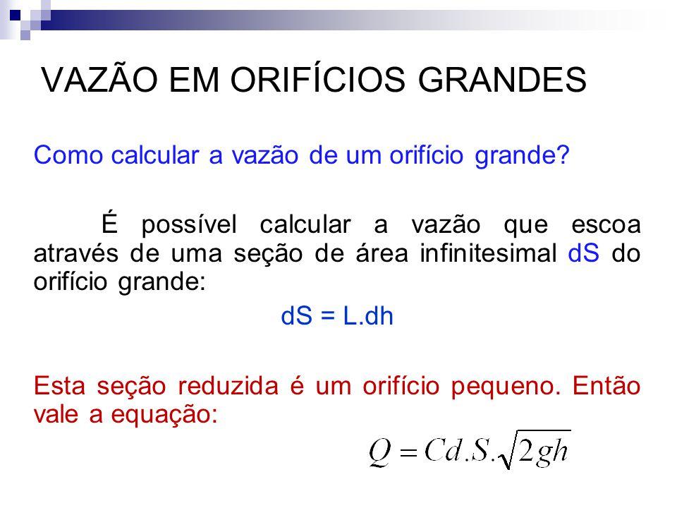 VAZÃO EM ORIFÍCIOS GRANDES Como calcular a vazão de um orifício grande? É possível calcular a vazão que escoa através de uma seção de área infinitesim