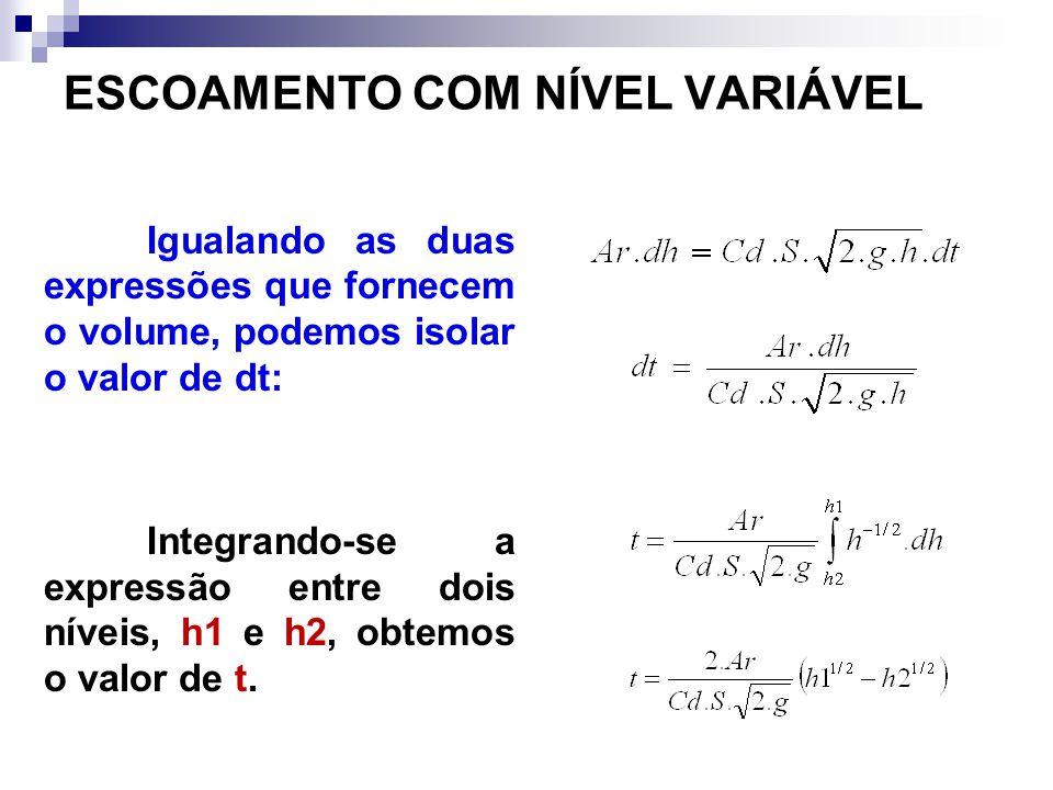 Igualando as duas expressões que fornecem o volume, podemos isolar o valor de dt: Integrando-se a expressão entre dois níveis, h1 e h2, obtemos o valo
