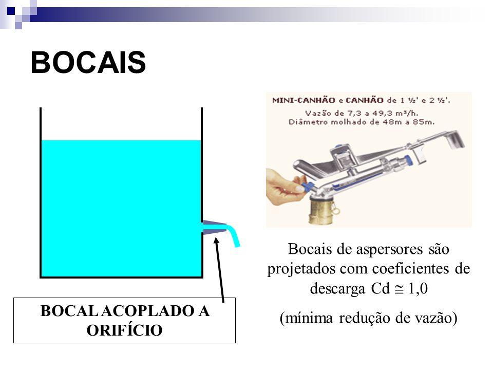BOCAIS BOCAL ACOPLADO A ORIFÍCIO Bocais de aspersores são projetados com coeficientes de descarga Cd 1,0 (mínima redução de vazão)