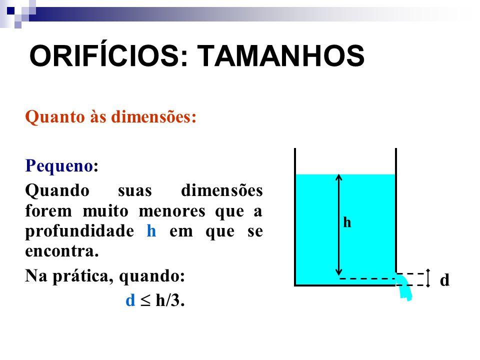 ORIFÍCIOS: TAMANHOS Quanto às dimensões: Pequeno: Quando suas dimensões forem muito menores que a profundidade h em que se encontra. Na prática, quand