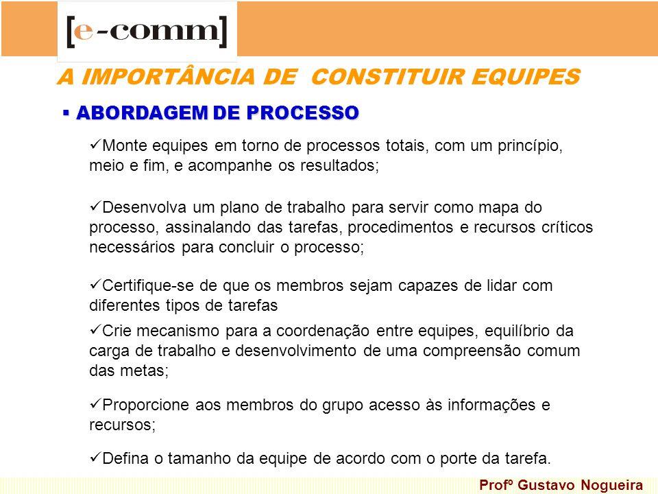 A IMPORTÂNCIA DE CONSTITUIR EQUIPES ABORDAGEM DE PROCESSO ABORDAGEM DE PROCESSO Desenvolva um plano de trabalho para servir como mapa do processo, ass