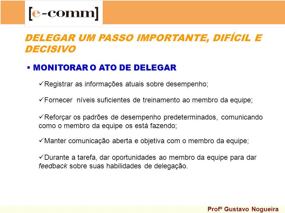 MONITORAR O ATO DE DELEGAR MONITORAR O ATO DE DELEGAR Registrar as informações atuais sobre desempenho; Fornecer níveis suficientes de treinamento ao