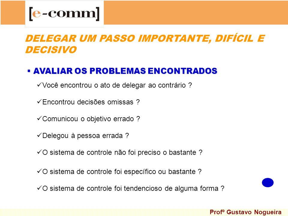 AVALIAR OS PROBLEMAS ENCONTRADOS AVALIAR OS PROBLEMAS ENCONTRADOS Você encontrou o ato de delegar ao contrário ? Encontrou decisões omissas ? Comunico