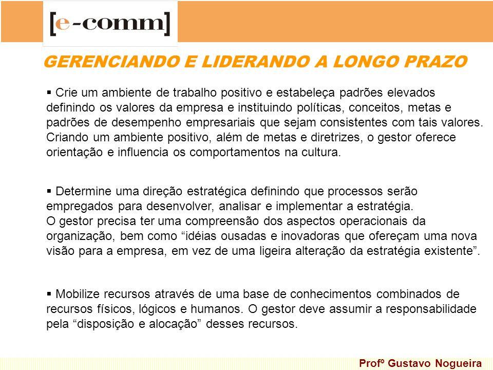 GERENCIANDO E LIDERANDO A LONGO PRAZO Crie um ambiente de trabalho positivo e estabeleça padrões elevados definindo os valores da empresa e instituind