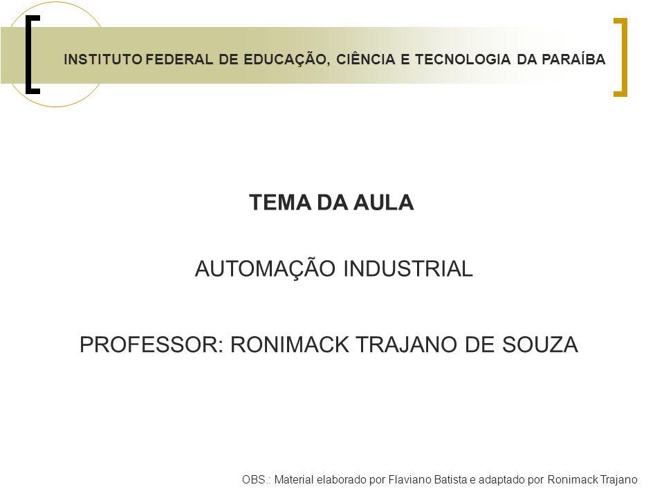 INSTITUTO FEDERAL DE EDUCAÇÃO, CIÊNCIA E TECNOLOGIA DA PARAÍBA PROFESSOR: RONIMACK TRAJANO DE SOUZA AUTOMAÇÃO INDUSTRIAL TEMA DA AULA OBS.: Material e
